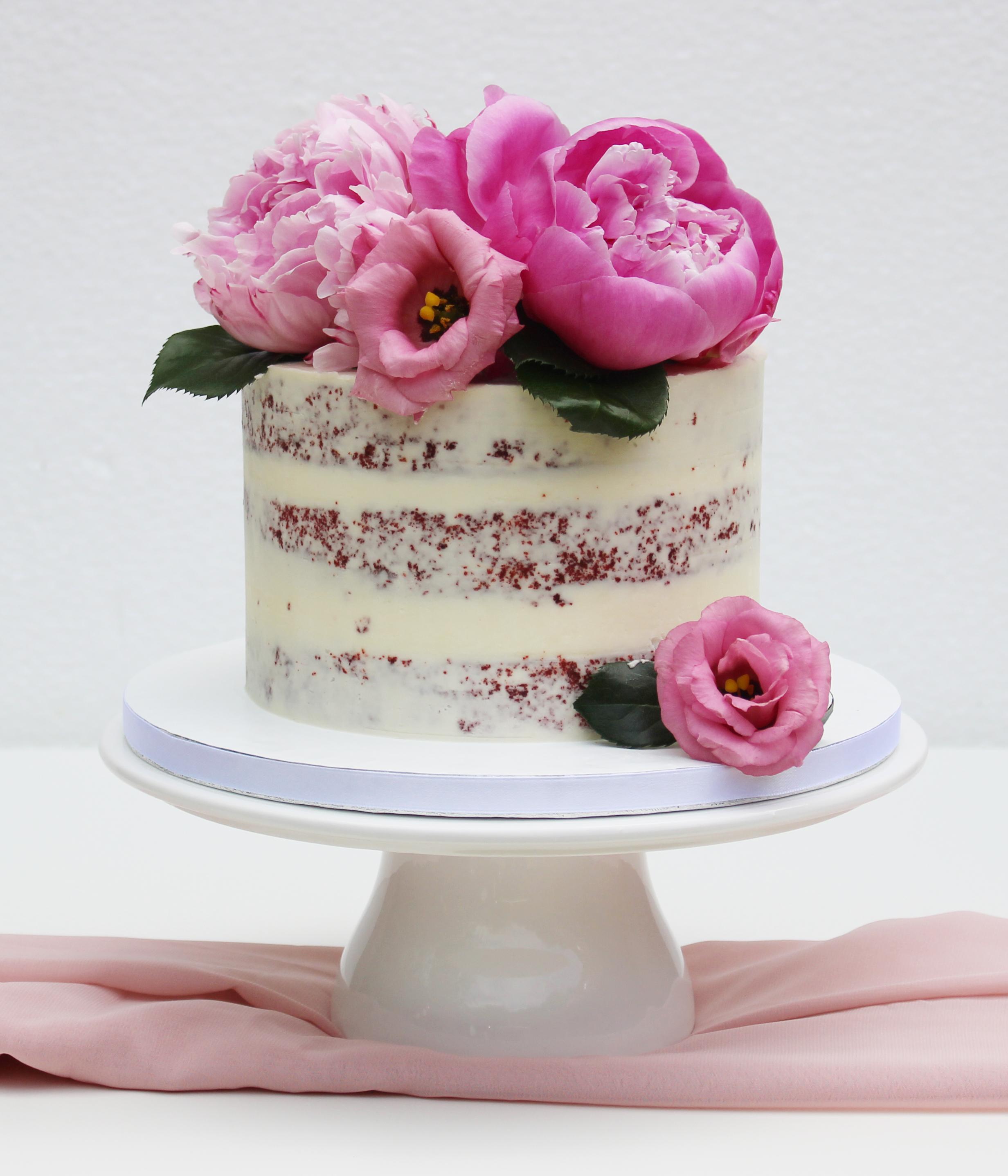 Spiksplinternieuw Semi-naked cake met bloemen ML-38