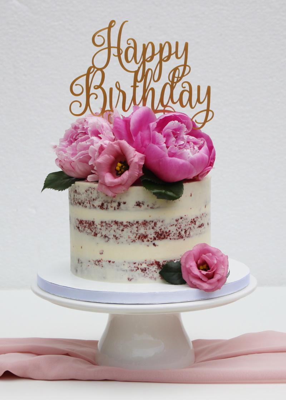 Semi-naked met roze bloemen en topper